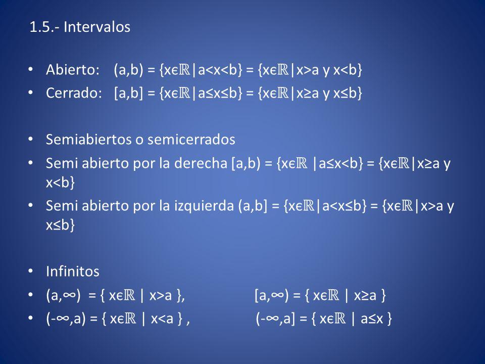 1.5.- Intervalos Abierto: (a,b) = {xєℝ|a<x<b} = {xєℝ|x>a y x<b} Cerrado: [a,b] = {xєℝ|a≤x≤b} = {xєℝ|x≥a y x≤b}